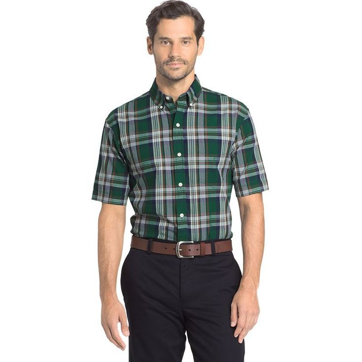 Men's Arrow Marina Beach Classic-Fit Plaid Button-Down Shirt, Size: Medium, Med Green