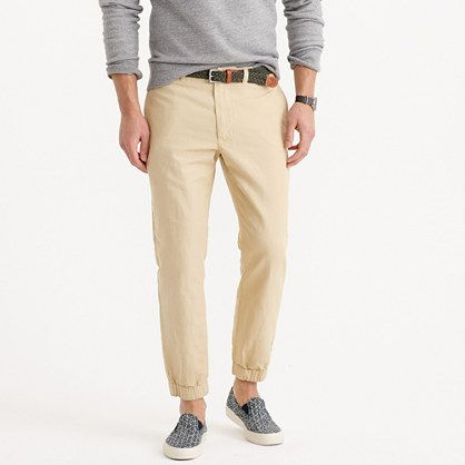 If you haven't embraced jogger pants yet, you should. When it comes to comfort <i>and</i> effortlessly cool style, joggers are the best alternative to your chinos and jeans. This version is made of garment-dyed cotton-linen, which has a faded vintage look and a nice weight for the heavier days of summer. <ul><li>For the best fit, we recommend ordering a full size smaller than your usual size.</li><li>Slightly cropped fit.</li><li>Sits below waist.</li><li>Slim through the leg but not…