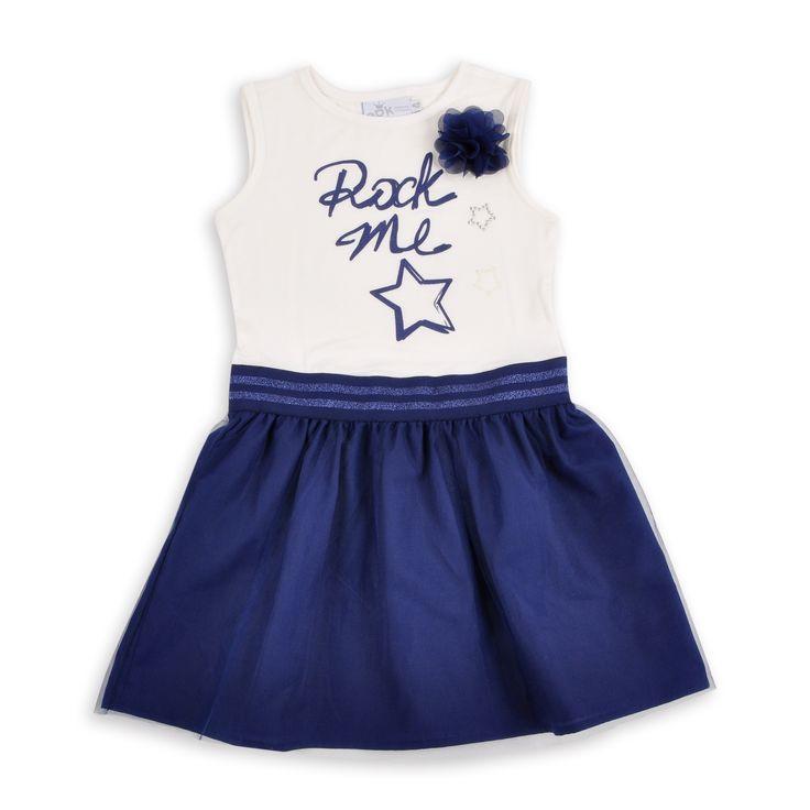 Vestido para niña, en color hueso y falda de tull azul marino. EPK