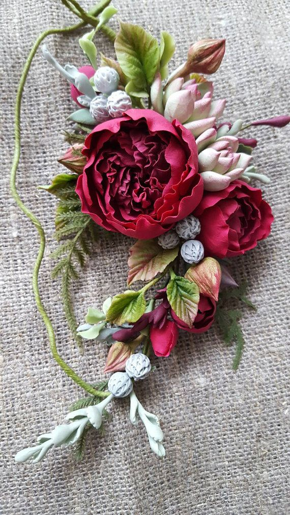 Burgundy peony rose flower headband Rustic bridal flower crown Bohemian floral headpiece Burgundy wedding Wine Boho Succulent David Osteen
