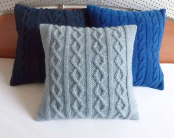 Slate blue hand knit pillow case, knitted cushion cover, decorative couch pillow, knit home decor 16x16, knit throw pillow, custom knit
