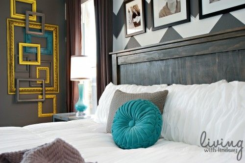 Love the colors!: Color, Frames, Bedroom Makeover, Chevron Wall, Master Bedroom, Bedrooms, Bedroom Ideas