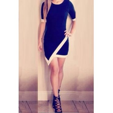 Cheap Fashion O Neck Short Sleeves Patchwork Asymmetrical Black A Line Mini Dress #PinoftheDay @iamalovelywoman