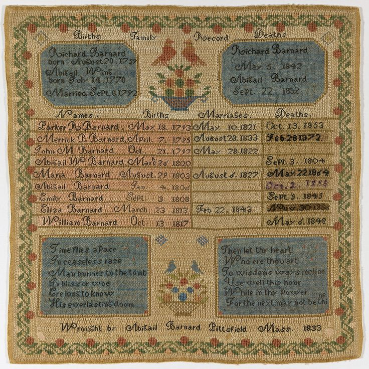Family Register Sampler, 1833 Medium: silk and cotton embroidery on linen foundation Technique: embroidered in cross stitch on plain weave f...