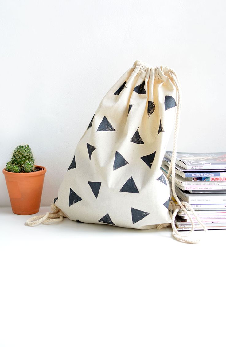 DIY block stamped bag