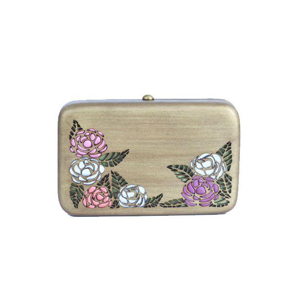 Rosa (gold) clutch - #rachanareddy #bag #clutch #woodenclutch #wood #fashion #art #design #designer #elegant #roses #flowers #etching #carving Shop here: www.rachanareddy.com