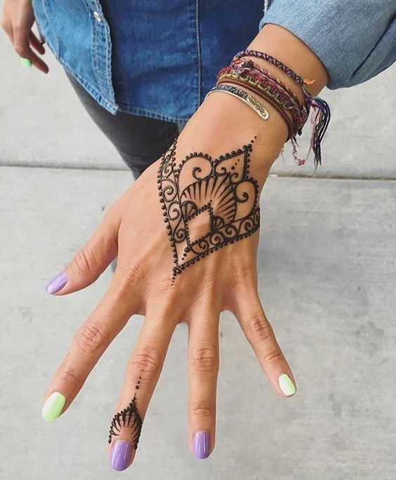 """Hand Art Mehndi Mehndi or """"Mehendi"""" or henna is a paste that is created from the powdered leaf of the henna plant and is made into designs for men and women. Mehndi is derived from the Sanskrit word mendhika. The use of mehndi and turmeric is described in the earliest Hindu Vedic ritual books"""
