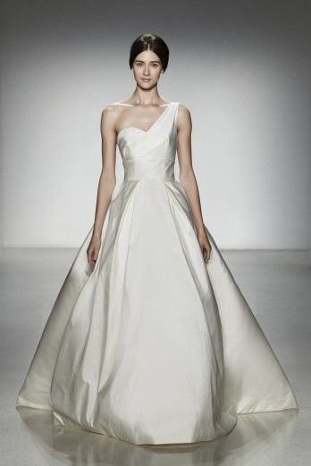 "Amsale ""Newport"": Amsal Spring, Wedding Dressses, Ball Gowns, Spring Wedding, Wedding Gowns, One Shoulder, Bridal Gowns, Spring 2014, Pleated Skirts"