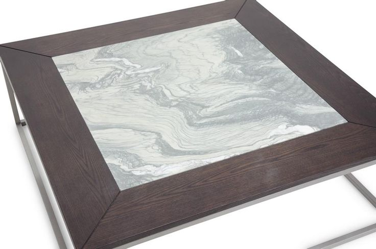 Jezeka Brown Modern Coffee Table with Marble Inlay | Chicago Furniture