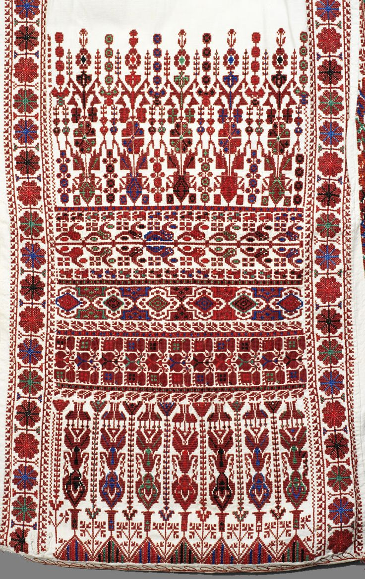 Traditional Palestinian embroidery ... red geometric on beige