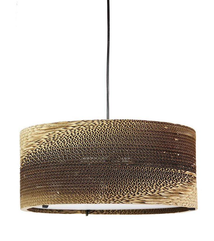 The Boite Cardboard Pendant Light is constructed using rings of corrugated cardboard over a metal frame.
