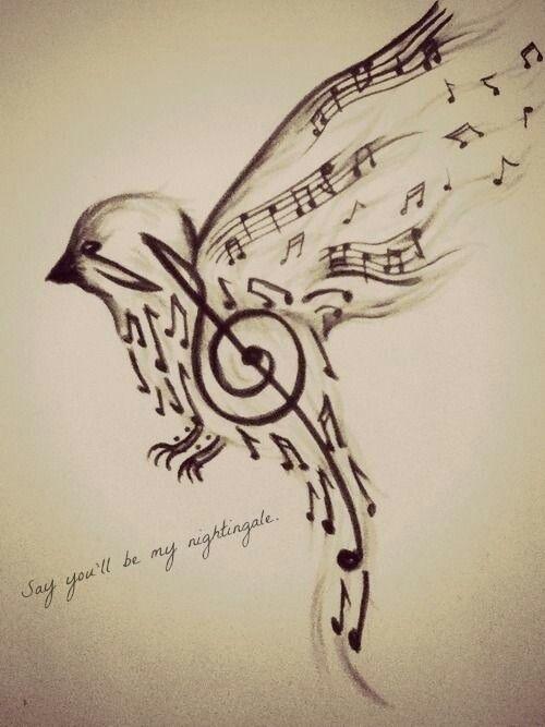 birds, music, notes, quote, tattoo, tatuajes, teen, tumblr, nightingale