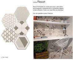 Tendência para os ambientes descontraídos abusar dos revestimentos nos formatos hexagonais. A linhas Resort da Portobello Shop Campinas oferece opções.