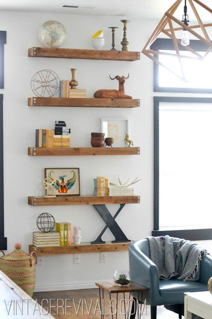 Living room makeover reveal open shelving diy wood and - Open shelving living room ...