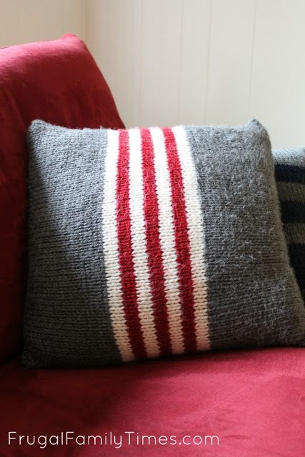 Vintage Camp Blanket Inspired Pillows ~ Red, white and grey stripes ~ Simple Knitting Patterns for Total Beginners