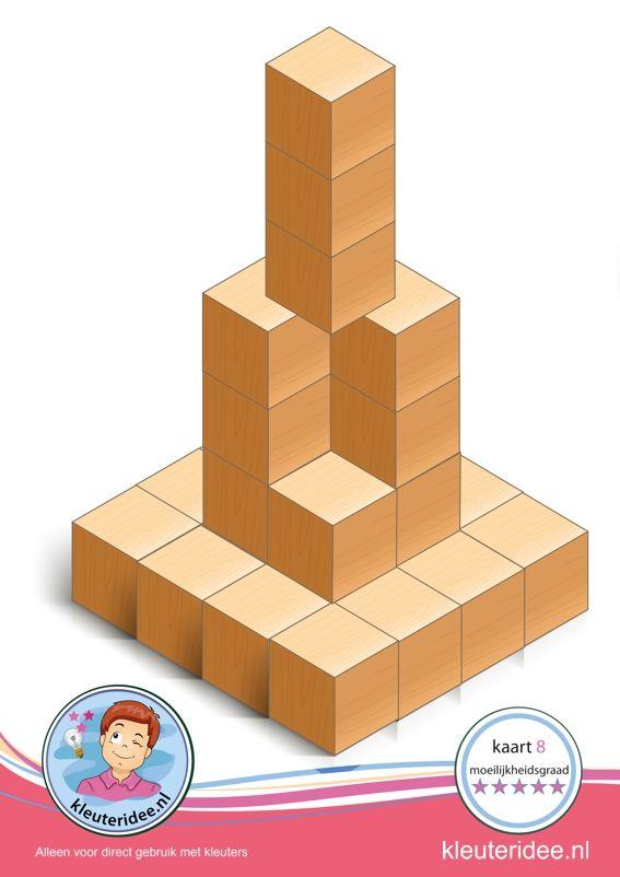 Bouwkaart 8 moeilijkheidsgraad 5 voor kleuters, kleuteridee, Preschool card building blocks with toddlers 10, difficulty 5, free printable.
