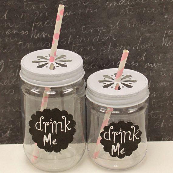 PLASTIC Mason Jars, 25 Mason Jars & 25 Daisy Cut Lids, UNBREAKABLE Plastic, Lemonade Jars, Party, Drinks, Food, Favors