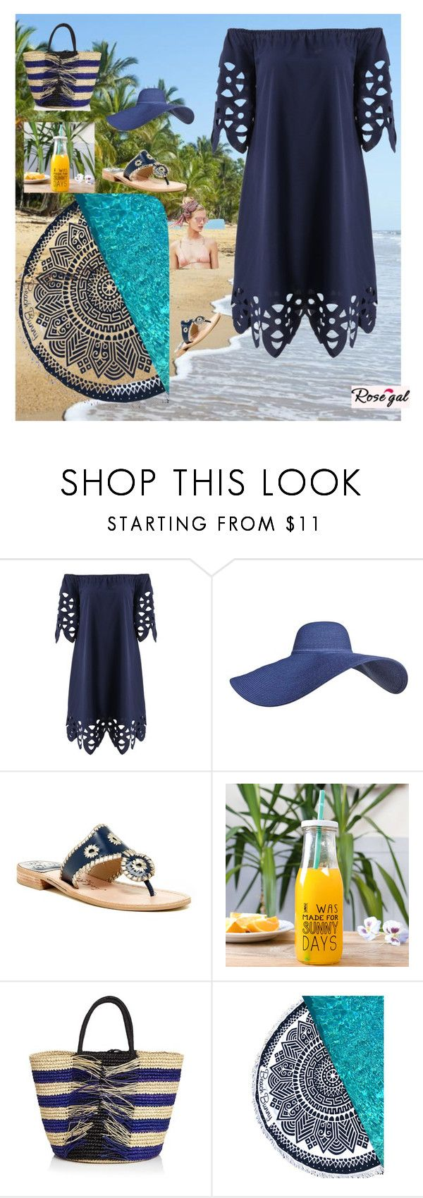 """Rosegal"" by emina-ahmetovic ❤ liked on Polyvore featuring Beach Riot, Jack Rogers, Dibor, Sensi Studio and Beach Bunny"