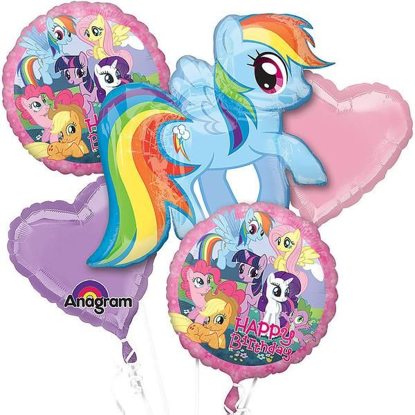 Party with the Ponies with this pink and purple My Little Pony Mylar balloon bouquet that includes 1 large Pony shaped, 2 solid pink and purple hearts, and 2 ro
