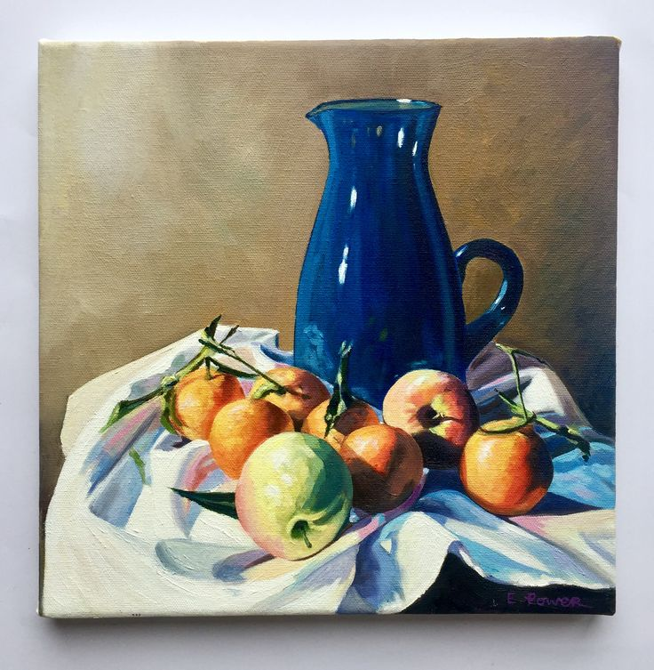 Emerboweart.  Buy it now on my etsy > https://www.etsy.com/ie/people/emerbowe?ref=hdr_user_menu Small blue jug  Still life painting of apples oranges on white cloth with  a big old blue jug #painting #Art #stilllife #study #irish #irishartist #oil #canvas #oiloncanvas