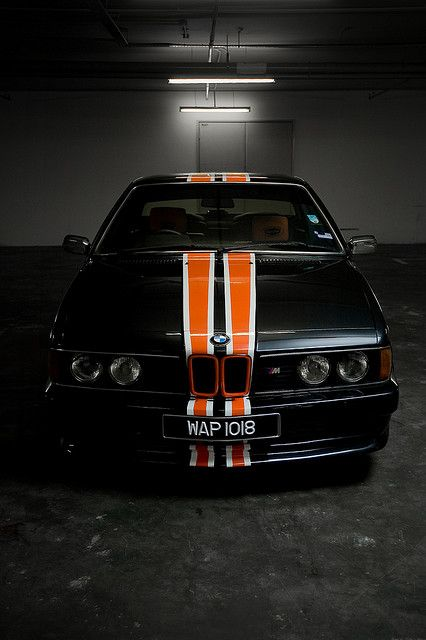 BMW E24 M 635 CSi.  Wow. Perfect.  I'm all about that orange racing stripe.