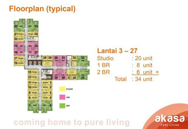 Floor Plan Tower Kalyana Akasa Pure Living BSD