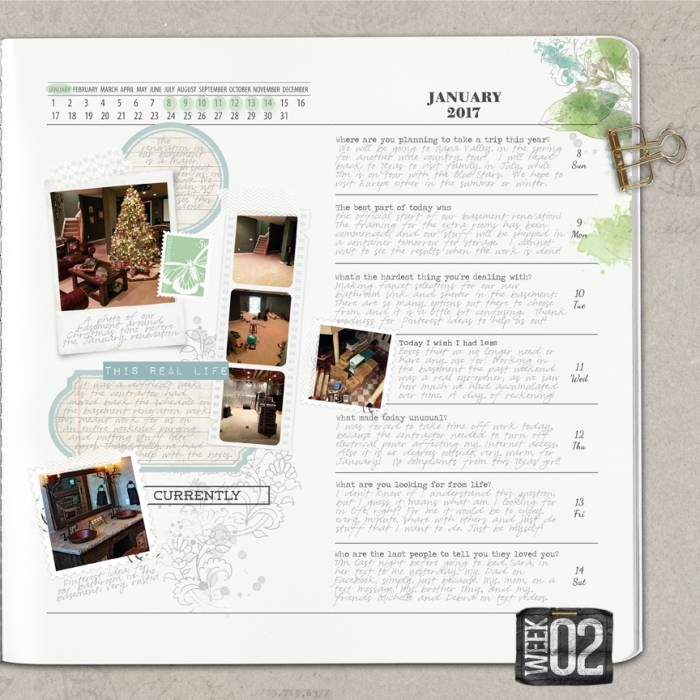 """This is the right side of my double journal page, documenting Week 2 (my left side is located at <a rel=""""nofollow"""" href=""""http://www.designerdigitals.com/digital-scrapbooking/ideas/showphoto.php?photo=238049&nocache=1)."""" target=""""_blank"""">http://www.designerdigitals.com/digital-scrapbooking/ideas/showphoto.php?photo=238049&nocache=1).</a><br />&l..."""