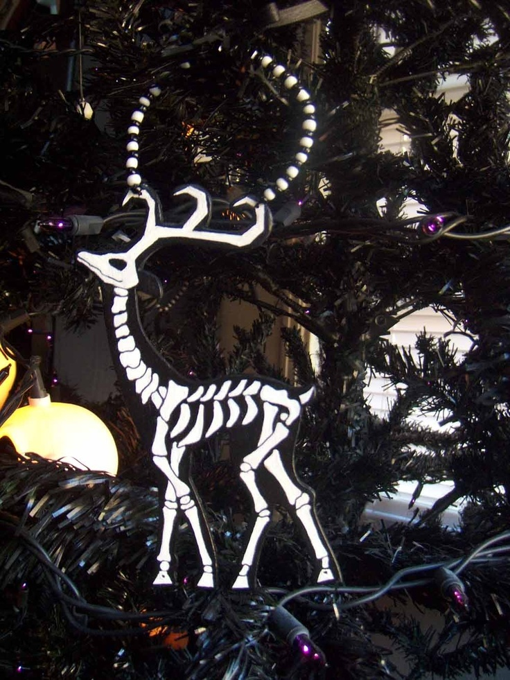 Skeleton Reindeer Ornament. $5.00, via Etsy.
