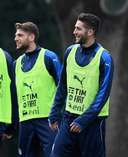 Roberto Gagliardini (R) and Domenico Berardi of Italy chat during the training session at the club's training ground at Coverciano on February 22, 2017 in Florence, Italy.