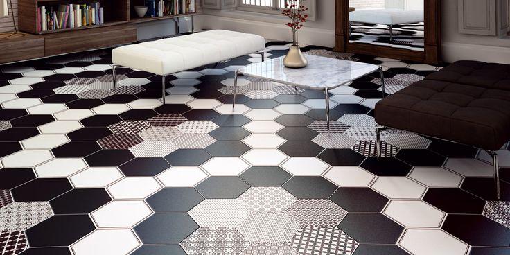 Realonda GRAZIA series. Black and white ceramic tile from Tile of Spain