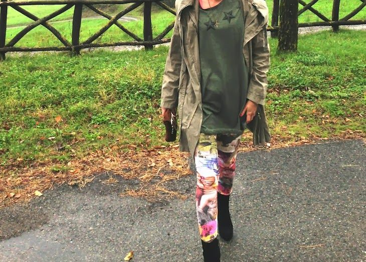 Stars and Flowers, tshirt e leggings, idea outfit con parka e ispirazione military, automa style tshirt brand, alfa omega brand, look autunnali, amanda marzolini, fashion blogger the fashionamy,