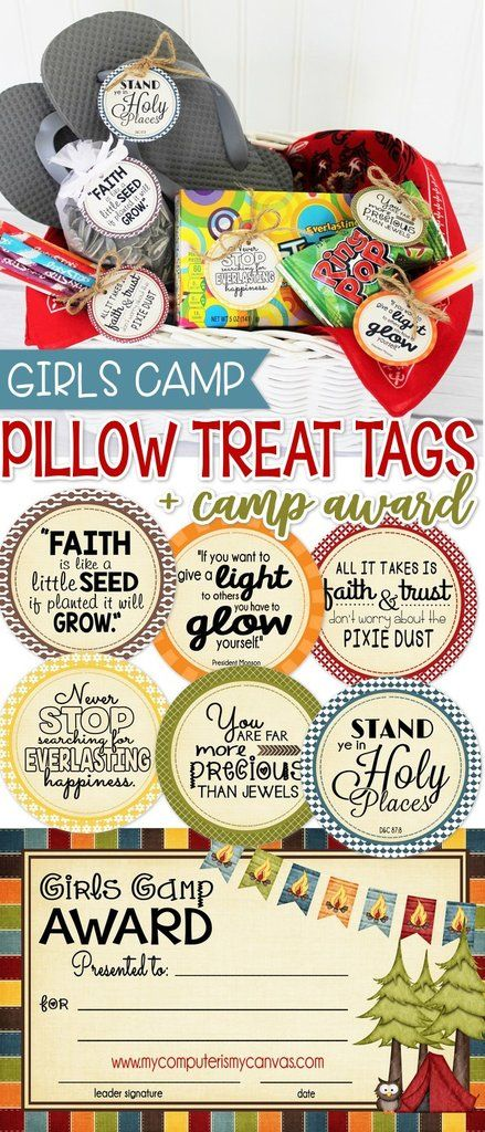 Printable LDS Girls Camp Pillow Tag Set + Award Certificate, Camp Award, pillow treats PRINTABLE #mycomputerismycanvas
