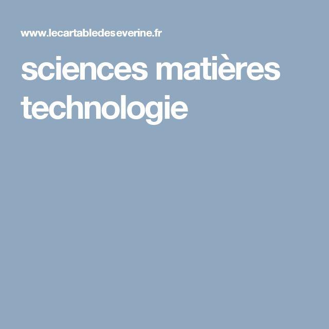 sciences matières technologie