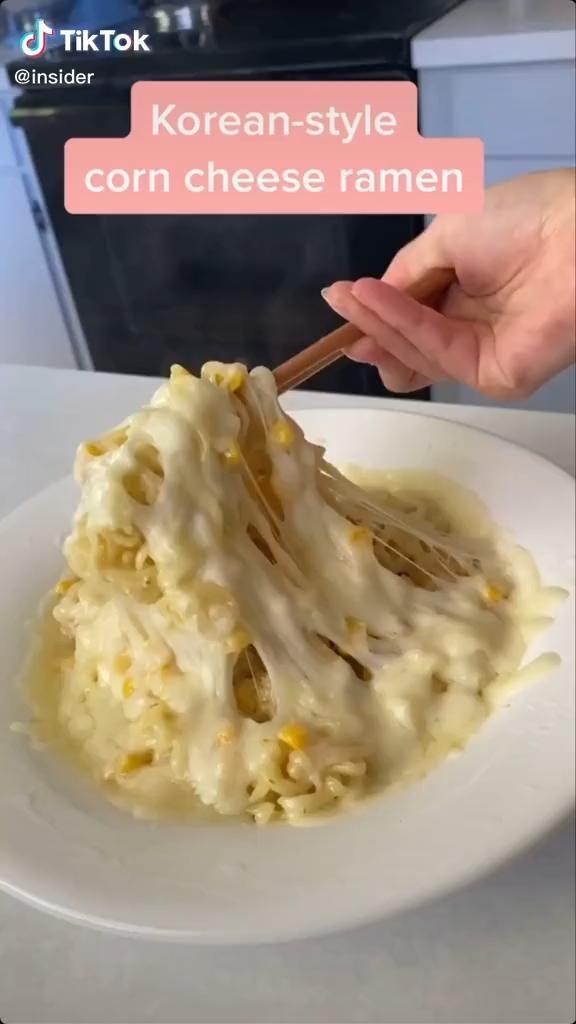 Easy Korean Style Corn Cheese Ramen Recipe Food Tiktok Video Food Videos Food Videos Desserts Recipes