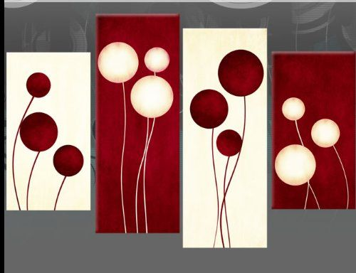 """Dark Red and Cream Canvas Picture Abstract Circles 4 pieces multi panel split canvas completely ready to hang, hanging template included for easy hanging, UK company 40"""" width 28"""" height (101 x 71 cm)"""