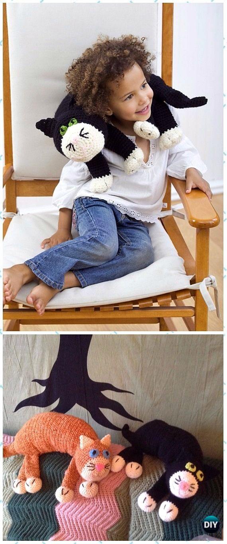 Crochet Cat Neck Pillow Free Pattern - Crochet Travel Neck Pillow Patterns Tutorials