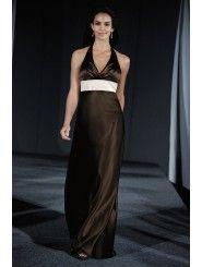 Satin Halter V-necklne Floor-Length Bridesmaid Dress