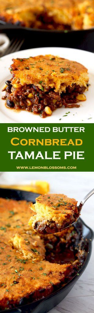 This Browned Butter Cornbread Tamale Pie is bursting with Tex Mex flavors. Spiced ground beef chili seeps through a delicious homemade browned butter cornmeal topping. The ultimate comfort food! #tamalepie #cornbread #skillet #onepanmeal #brownbutter #comfortfood #TexMex