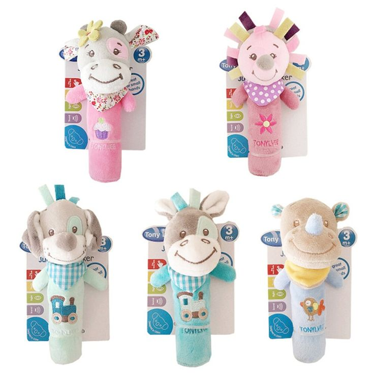 Baby Hand Bell Stick Cartoon Animals Hand Rattle Toy Kid Plush Soft Toy Z
