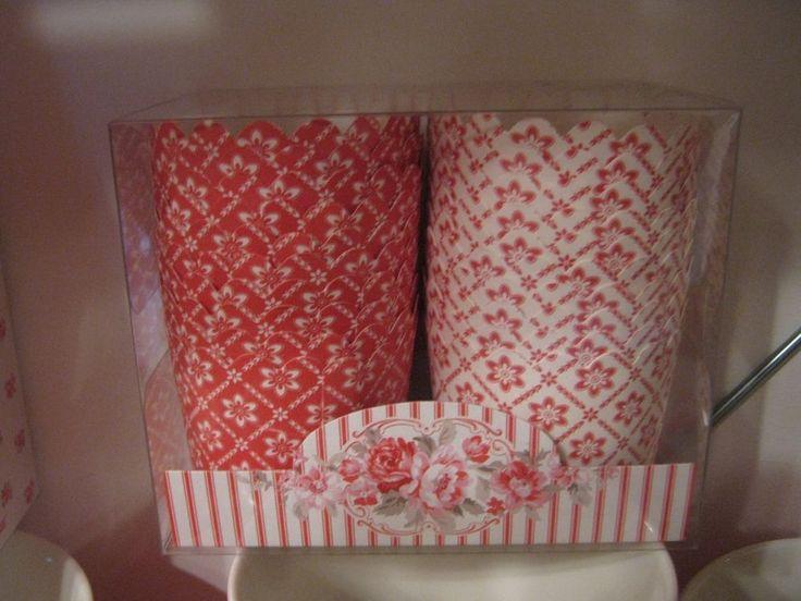 Greengate scatola con pirottini per muffin Cupcake cups Alba red 20 pezzi