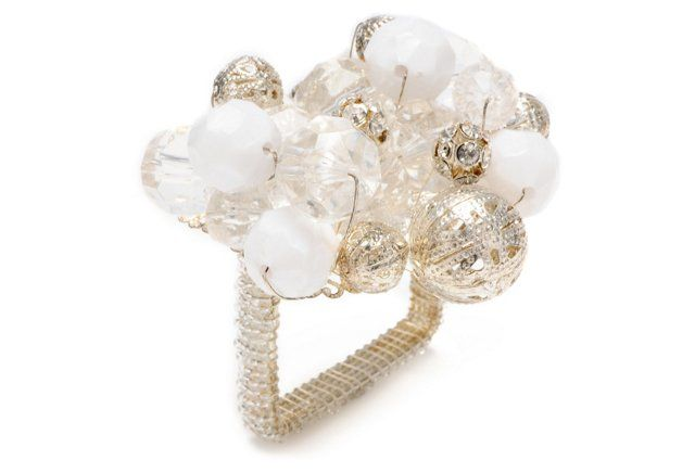 S/4 Crystal Bauble Napkin Rings