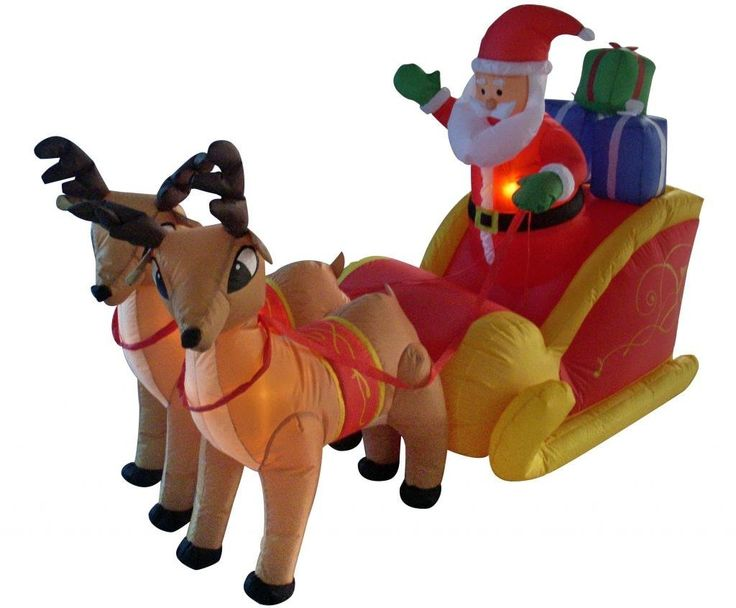 6 Foot Long Christmas Inflatable Santa on Sleigh with Reindeer Yard  Decoration - 61 Best Santa Sleigh And Reindeer Outdoor Decoration Images On