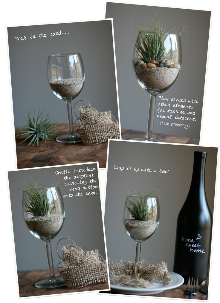 Tuesday Tutorial – #DIY airplant table setting with a wine glass, of course!: Pretty Centerpieces, Gifts Ideas, Cute Ideas, Wine Crafts, Air Plants, Wine Glass Centerpieces, Glasses Ideas, Wine Glasses, Housewarming Gifts