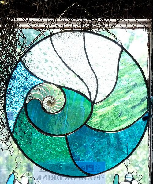 nautilus stained glass | SOLD /// Nautilus shell cross-section and stained glass window, 12 ...
