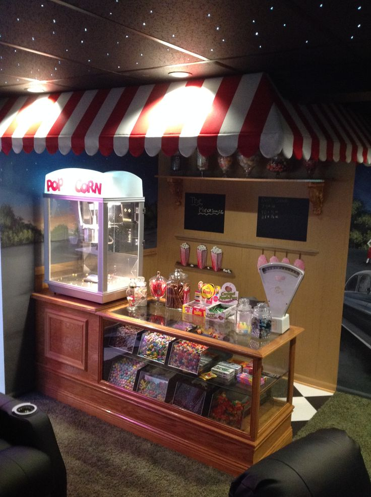 Custom made Candy Counter for the 50's style Drive-In Theater room in a basement in Monroe Mi