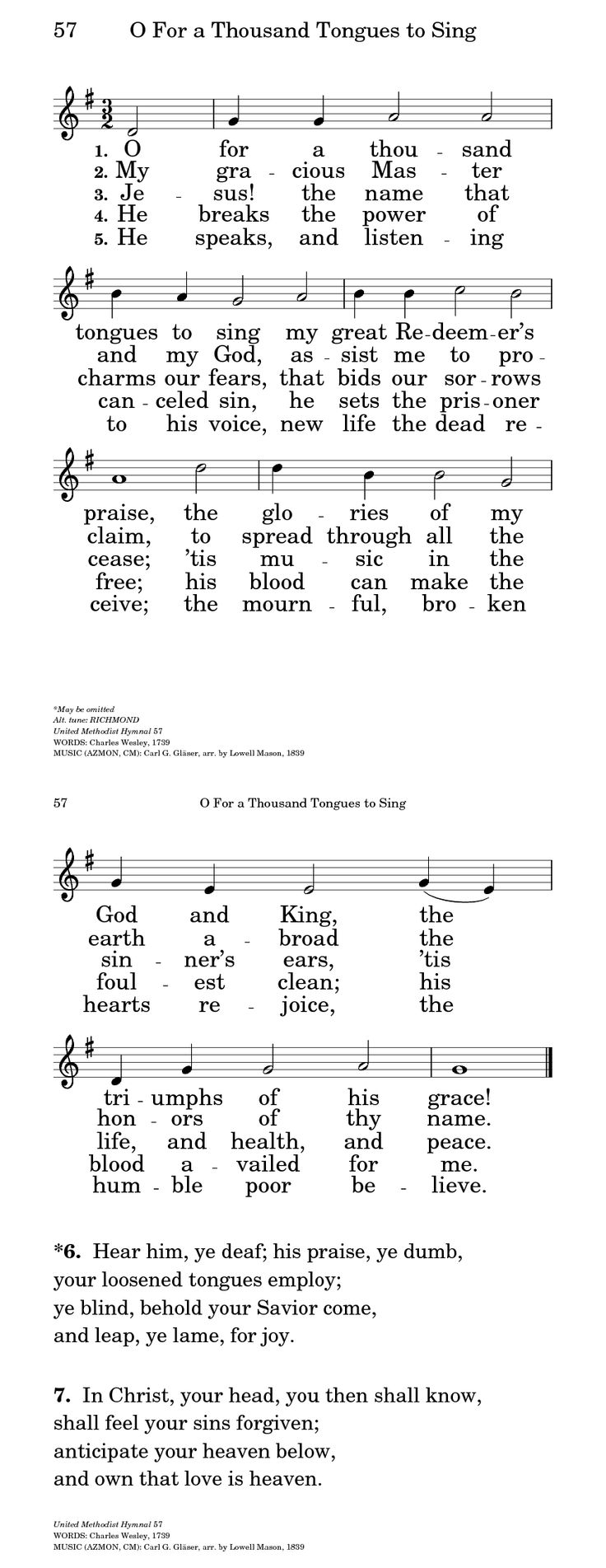 The United Methodist Hymnal 57. O for a thousand tongues to sing - Hymnary.org