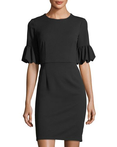 DONNA MORGAN LANTERN-SLEEVE SHEATH DRESS. #donnamorgan #cloth #