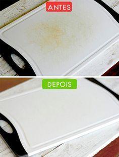 Para deixar a tábua limpinha, basta limpá-la com uma esponja embebida de uma solução de suco de limão e sal