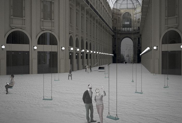 Lo spazio espositivo combina vari tipi di percezione dell'opera e mette in evidenza due sistemi espositivi