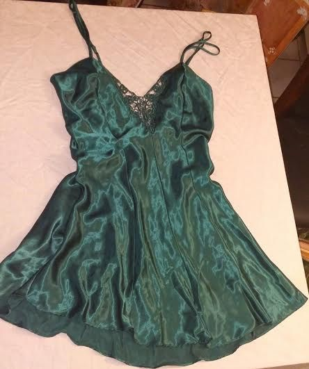 Vintage Fredericks of Hollywood Lingerie Emerald Green Negligee by VintagelaceBoutique on Etsy